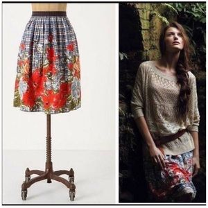 Anthro Odille Picked Plaid Skirt Size 8